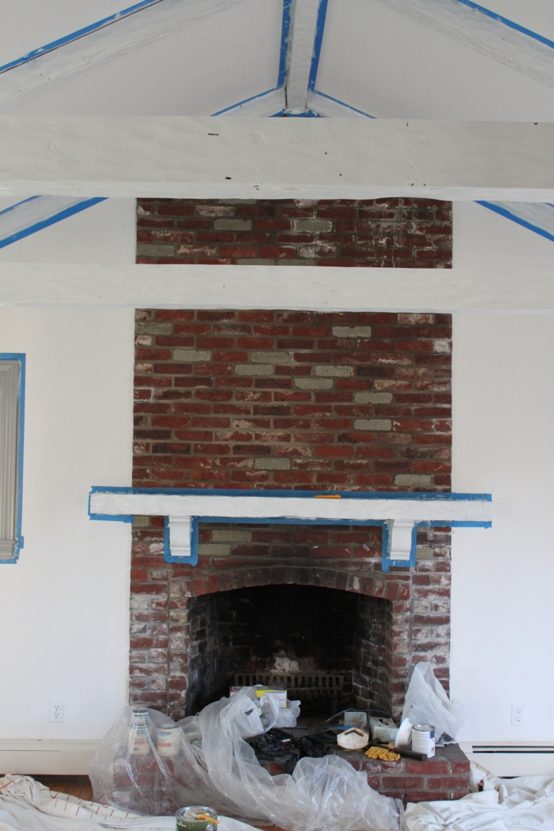 Beams and mantel painted