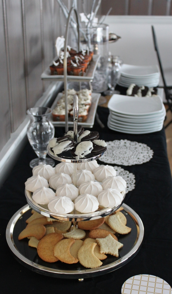 Our black and white dessert table