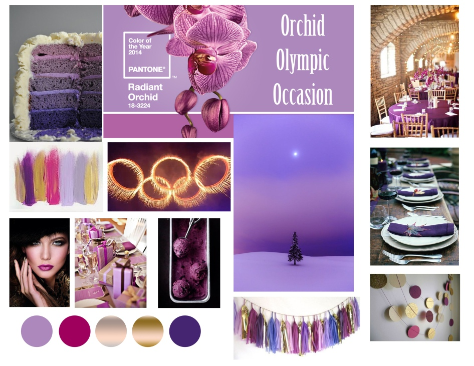 radiant orchid, olympic party, theme board, party theme