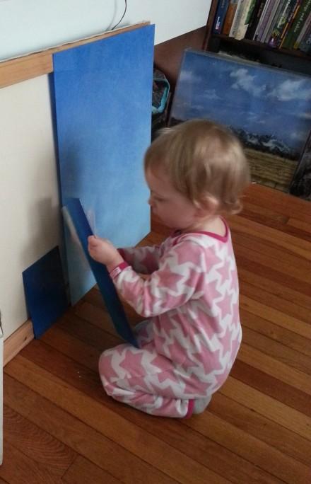 Miss A polishing a panel in her pj's, I'm starting her early.