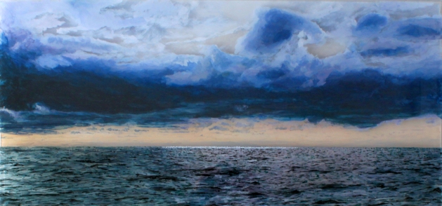 """Nantucket Sound #2"" © Jess Hurley Scott layered landscape painting"