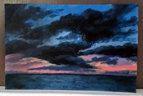 "Final 4x6"" acrylic on paper, 'Turks Sunset' ©Jess Hurley Scott"