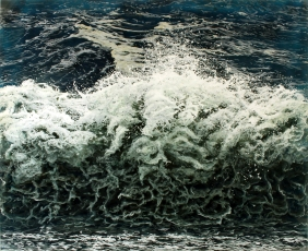 """Breakwall"", 32x40"", acrylic on multilayered acrylic panels ©Jess Hurley Scott, painting, art, artist, waves, ocean"