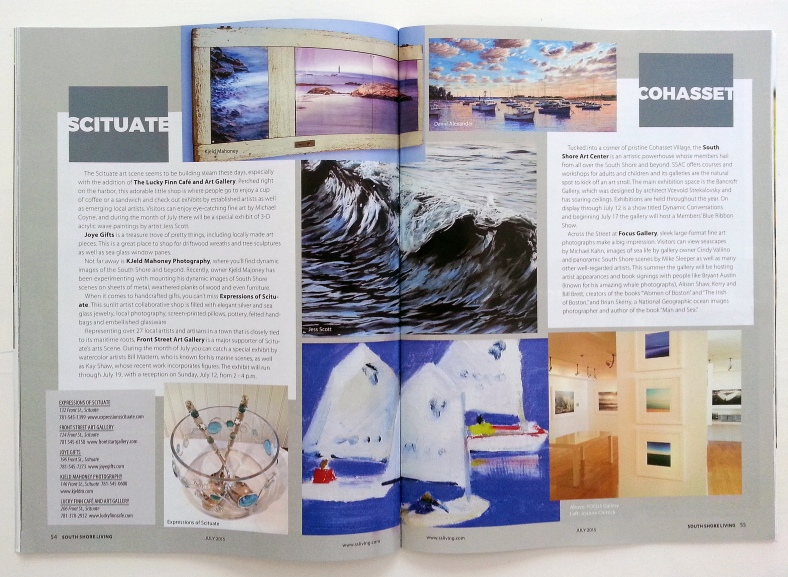 """As part of the Scituate 'art walk' feature, my recent wave piece, """"Mercury, #1"""" is center. South Shore Living Mag, July 2015"""