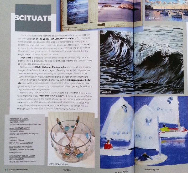 Details of the show are highlighted in the artcle, South Shore Living, July 2015 , Jess Hurley Scott, painting, artist, contemporary art