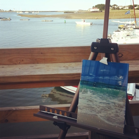 painting on the back deck of The Lucky Finn overlooking Scituate Harbor